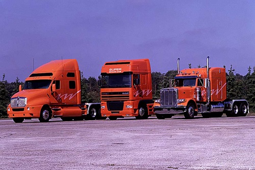 1987 Leyland Three Orange Flagship Trucks