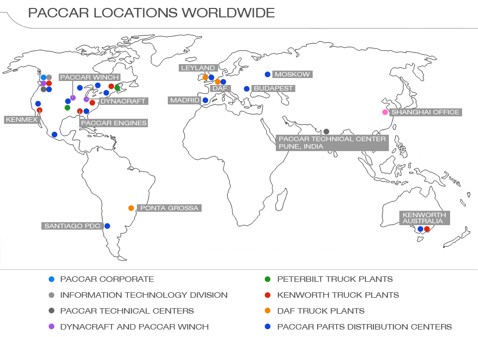 PACCAR Worldwide Map