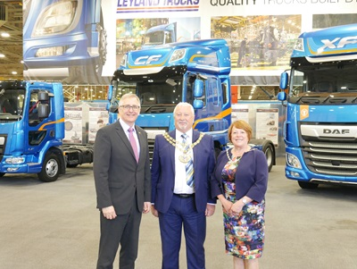 Peter Jukes with the Mayor and Mayoress and the Award Winning DAF Product Range